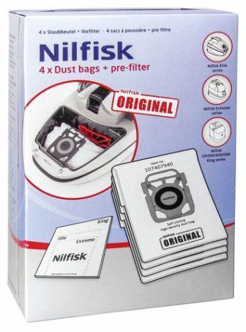 Nilfisk Original 107407940 Staubbeutel 1 Vorfilter für Elite Sauger 4 Stück
